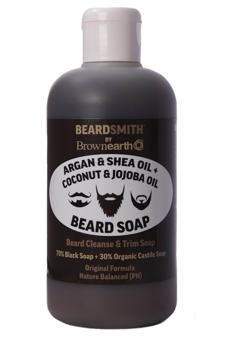 Argan& Shea Butter + Coconut& JojobaOil, BeardSoap, Beard Cleanse & Shampoo, Trim Soap, 70% Black Soap + 30% Castile, 250ml